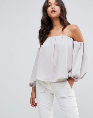 Asos Design Satin Off Shoulder Top with Balloon Sleeve