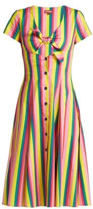 STAUD Alice Knotted Front Cotton Poplin Dress - Womens - Pink Multi