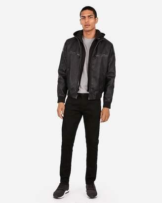 Express Vegan Leather Removable Hood Accordion Bomber Jacket