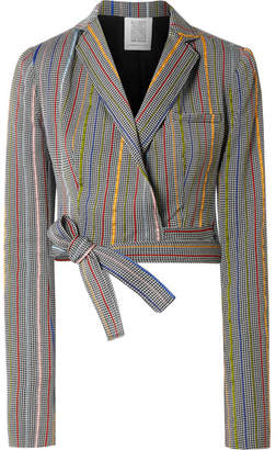 Rosie Assoulin Cropped Wool And Silk-blend Jacquard Wrap Blazer - Gray