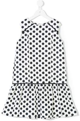 Oscar de la Renta Kids Dotted tweed drop-waist dress
