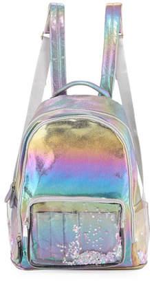 Bari Lynn Galaxy Holographic Backpack w/ Floating Heart Confetti Pockets