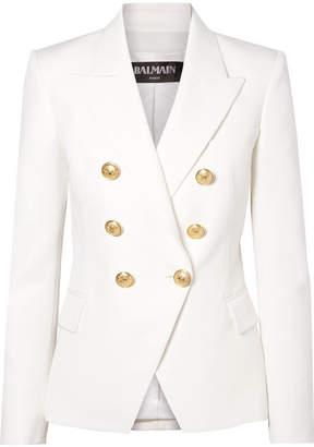 Balmain Double-breasted Grain De Poudre Wool Blazer - White