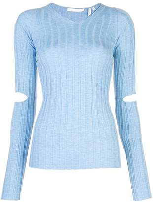 Helmut Lang cut out elbows knitted sweatshirt