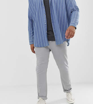 Asos DESIGN Plus slim heavyweight chinos in washed gray with turn up