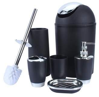 Qiilu Soap Dish Dispenser, 6 Pcs Bathroom Shower Accessory Set, Durable Home Decor, Cup + Toothbrush Holder + Soap Holder + Hand Sanitizer Bottle + Bins + Toilet brush, 4 Colors Available