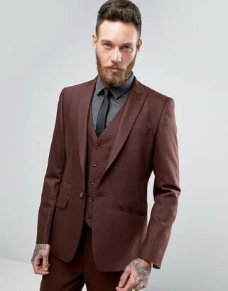 Blend of America Asos Design ASOS Skinny Suit Jacket In Herringbone Rust Wool