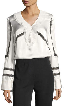 Self-Portrait Monochrome Trimmed Long-Sleeve Satin Shirt