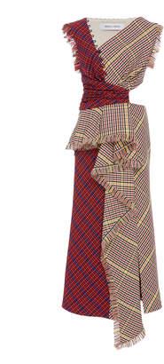 Prabal Gurung Shar Cutout Plaid Ruffle-Front Dress