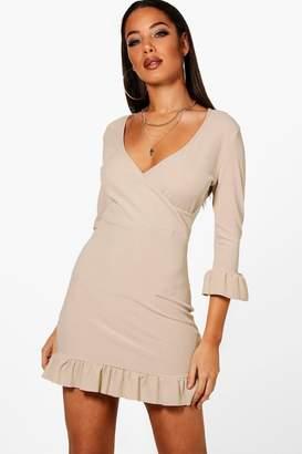 boohoo Ribbed Wrap Ruffle Bodycon Tea Dress