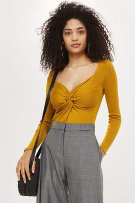 Topshop Mustard knot front knitted top