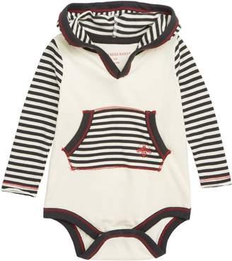 Burt's Bees Baby Candy Cane Stripe Hooded Bodysuit