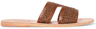 Ancient Greek Sandals Apteros Woven Raffia And Leather Slides - Brown