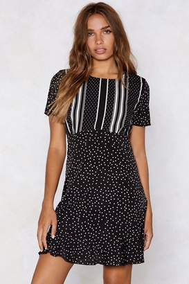 Nasty Gal Opposites Attract Striped and Polka Dot Dress