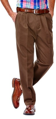 Haggar Big & Tall Work to Weekend Classic-Fit Pleated Expandable Waist Pants
