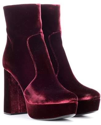 Prada Velvet plateau ankle boots