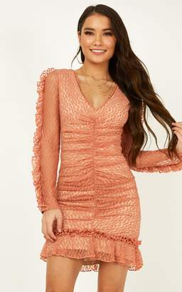 Showpo Speak To Us dress in peach lace - 6 (XS) Hens Night