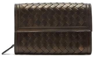 Bottega Veneta Intrecciato Continental Leather Wallet - Womens - Gold