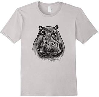 Hippo African Wildlife Animal Drawing Art T Shirt