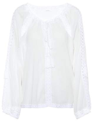 Anna Kosturova Giza lace-trimmed cotton top