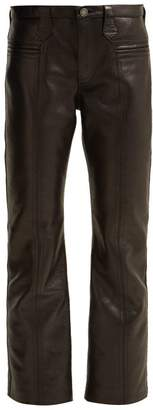 Saint Laurent Cropped Leather Trousers - Womens - Black