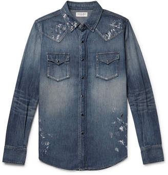 Saint Laurent Slim-Fit Distressed Denim Western Shirt - Mid denim