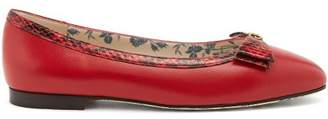 Gucci Eva Bow Embellished Leather Ballet Flats - Womens - Red