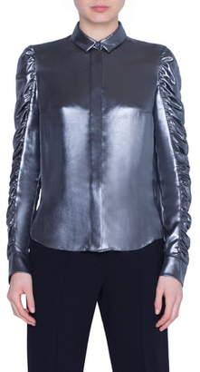 Akris Punto Ruched Sleeve Metallic Crepe Blouse