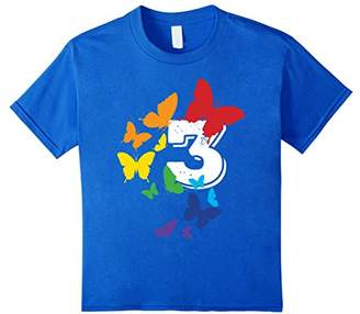 Number 3 Spectrum Color Butterflies Flying T-Shirt