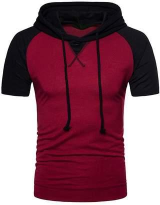 f775998e2 OTW-Men Summer Hoodie Drawstring Plus Size Contrast Short Sleeve Shirt Top  Tee Dark Grey