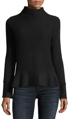 Neiman Marcus Ribbed Mock-Neck Cashmere Peplum Sweater
