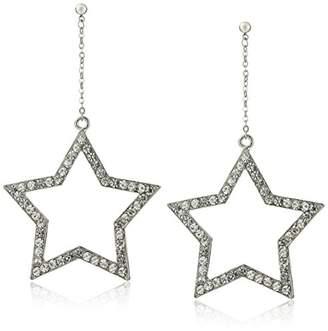 -Tone Rhinestone Open Star Dangle Earrings