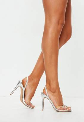 Missguided Silver Diamante Clear Slingback Heel Sandals