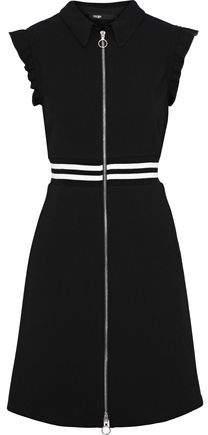 Rundi Ruffle-Trimmed Striped Stretch-Crepe Mini Dress