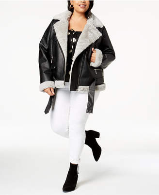 Joujou Jou Jou Juniors' Plus Size Faux-Fur-Lined Moto Jacket