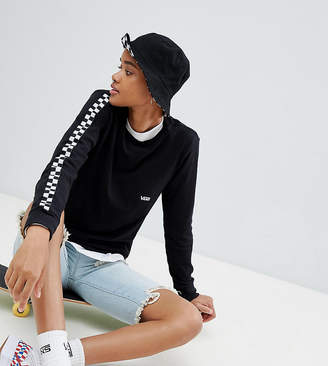 Vans Black Long Sleeve T-Shirt With Checkerboard Arms