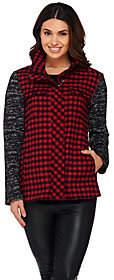 LOGO by Lori Goldstein Plaid Jacket w/ SweaterKnit Sleeves