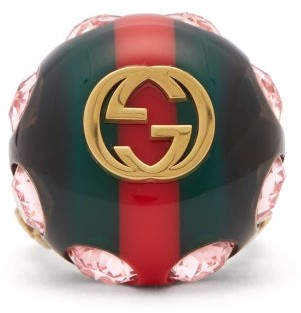 Gucci Crystal Encrusted Gg Logo Ring - Womens - Green