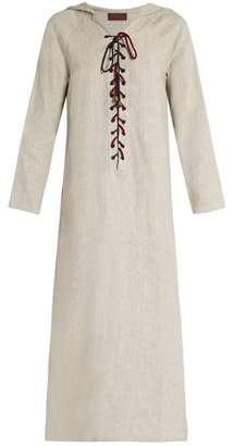 BEIGE Albus Lumen - Hooded Lace Up Linen Kaftan - Womens