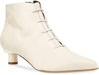 Tibi Asher Kitten-Heel Leather Ankle Booties, White