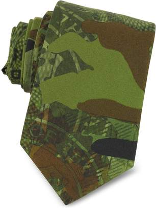 Givenchy Green Camouflage and Money Printed Cotton Narrow Tie