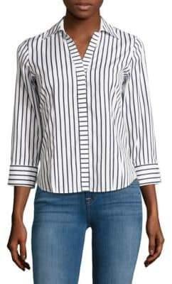 Foxcroft Petite Striped Cotton Button-Down Shirt