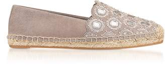 Tory Burch Yasmin Dust Storm Suede Embellished Flat Espadrilles