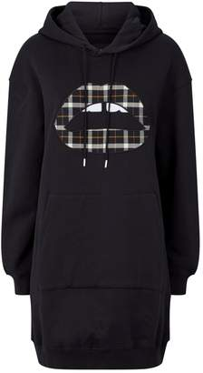 Markus Lupfer Lucie Check Lip Hoodie Dress