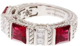 Judith Ripka Sterling Silver Red & White CZ Ring