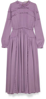 Bottega Veneta Ruffled Gathered Silk-crepe Dress - Lilac