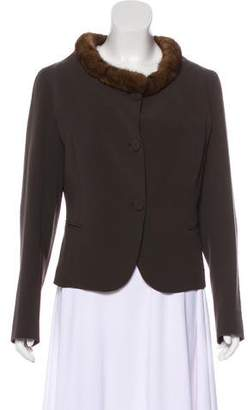 Fendi Fur-Trimmed Wool Jacket