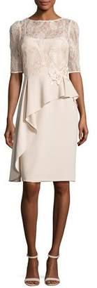 Rickie Freeman for Teri Jon Floral Embellished 3/4-Sleeve Peplum Cocktail Dress, Taupe $520 thestylecure.com