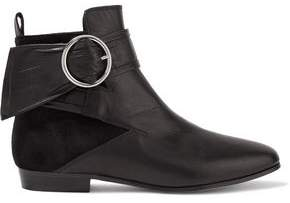 IRO Omel Buckled Paneled Suede And Leather Ankle Boots