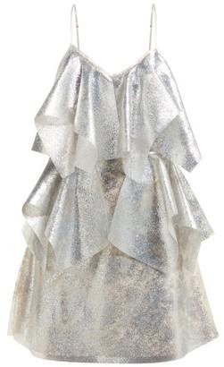 Germanier - Lady Gaga Glitter, Silicone And Satin Mini Dress - Womens - Silver